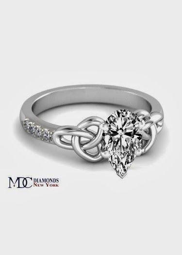 Pear shape Diamond Celtic Knot Engagement Ring in 14K ...
