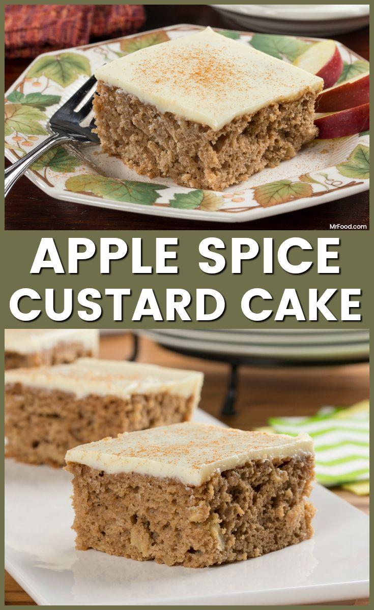 Apple spice custard cake recipe