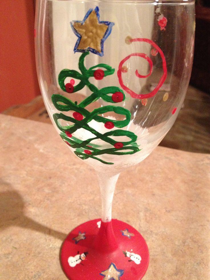 Christmas wine glass painting november pinterest for Christmas painted wine glasses pinterest