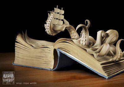 anagram_octopus - some exquisite book art from Kaspen for Anagram Bookshop in Prague