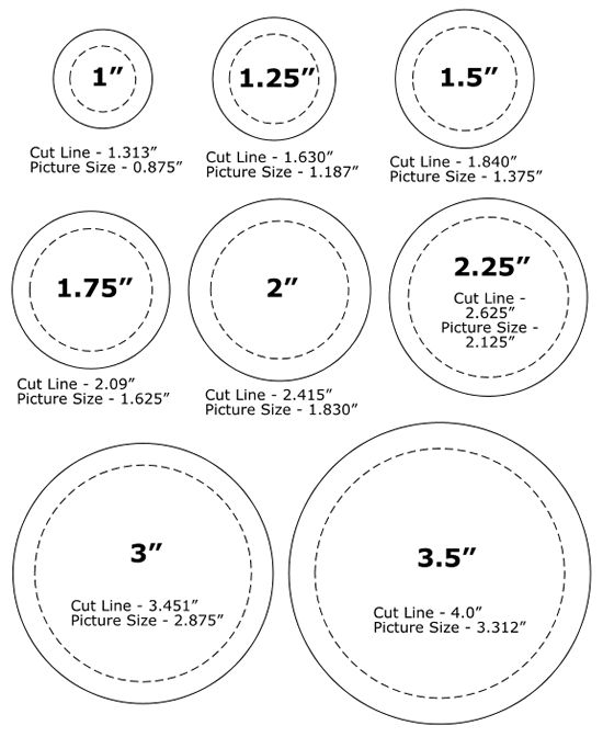 Trying to find the perfect sized button? Print off our PDF of button sizes. We have 8 round button sizes to choose from and several square and rectangle sizes.