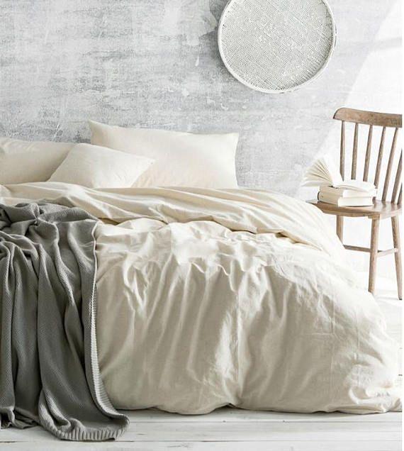 Cream Linen Duvet Cover Ivory Cream Bedding Natural Linen Etsy