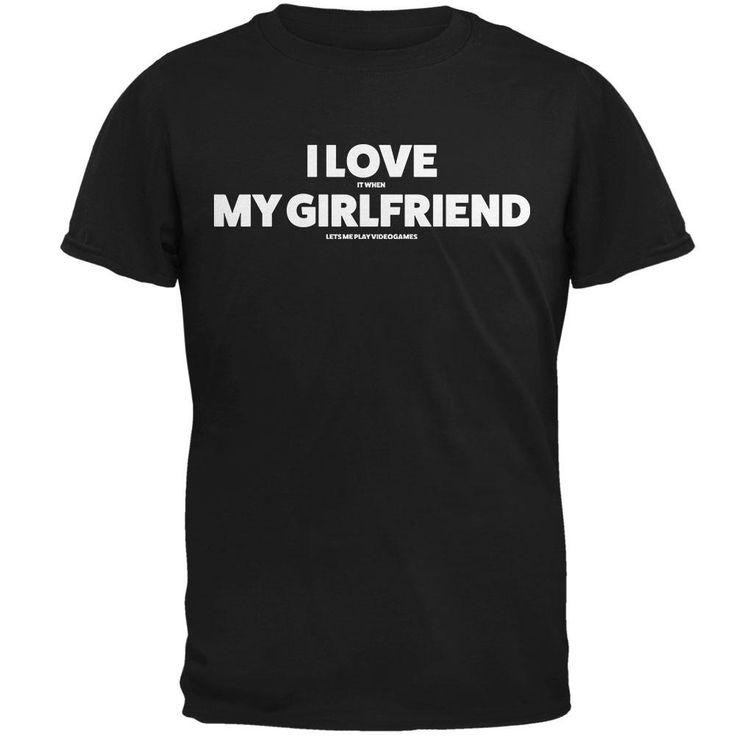 Valentines I Love My Girlfriend Video Games Black Adult T-Shirt