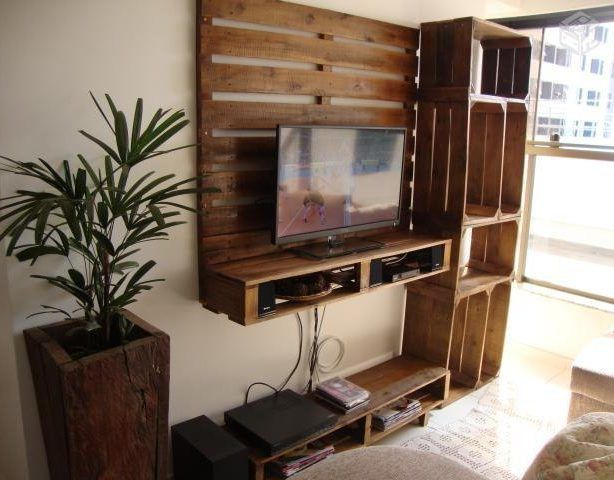 Coole Bastelidee Fur Diy Wohnwand Mit Tv Regal Aus Paletten Design
