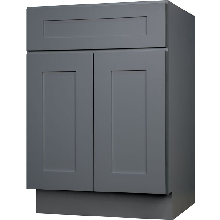 36 Inch Bathroom Vanity Single Sink Cabinet In Gray Shaker With Soft Close Doors 36