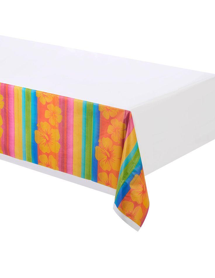 Mantel de plástico Hawái 137x259 cm: Este mantel de plástico mide 137x259 cm.El mantel es blanco con borde multicolores y flores hawaianas.Con este mantel darás el toque final a la decoración hawaiana de...
