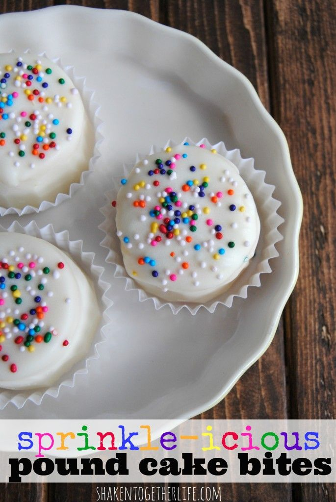No-bake pound cake bites look like mini birthday cakes - bring on the sprinkles!!