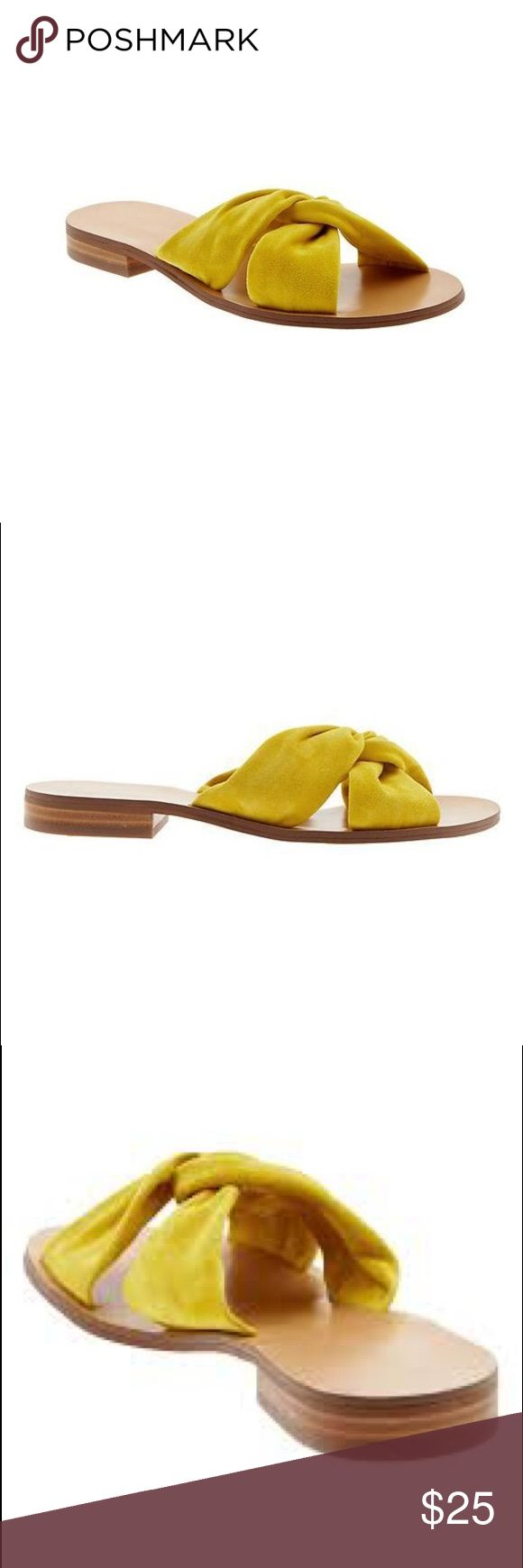 Banana Republic suede yellow sandals These are the Banana Republic Karolina Suede slide sandal in a yellow mustard color. They are the perfect summer staple to have. I have worn them a couple of times but they are still in good condition. Banana Republic Shoes Sandals