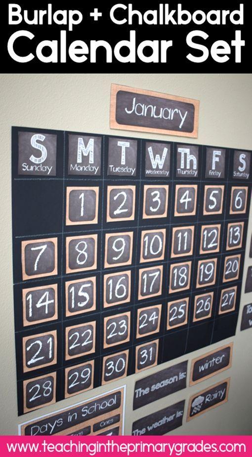 Classroom Calendar Set : This burlap and chalkboard classroom calendar set is