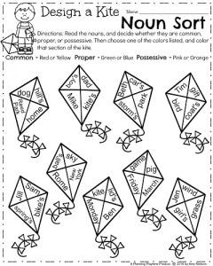 First Grade Noun Worksheets for March - Common, Proper and Possessive Nouns Sort