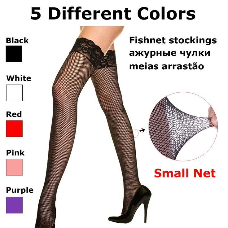 セクシーなブラックホワイトレッドピンク小さなネットフィッシュネット腿の高い延伸でレースアップトップナイロンストッキングのための女性のエロランジェリー