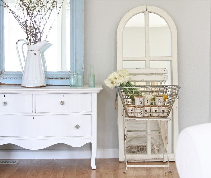 A White Wire Basket Can Add Style To Shabby Chic Space