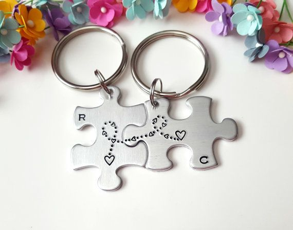 Puzzle Piece Keychains, Long Distance Relationship, Anniversary Gifts for Boyfriend, Personalized Keychain, Boyfriend Gift, One Year Gift