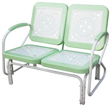 4D Concepts Metal Retro Glider in Lime & White Metal eclectic patio furniture and outdoor furniture