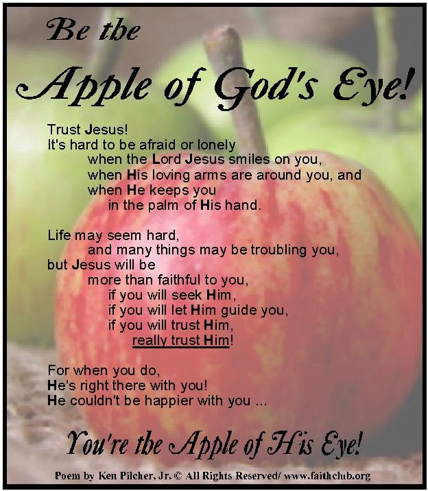 "You are the apple of God's eye | Title: ""Be the Apple of God's Eye!"""