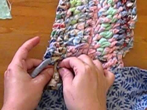 Amish Knot Rag Rug Tutorial 2 of 2 (YouTube) ~ by SustainableRick. Amish knot rug also known as Scandinavian knot rug, Blanket stitch rag rug, toothbrush rag rug.