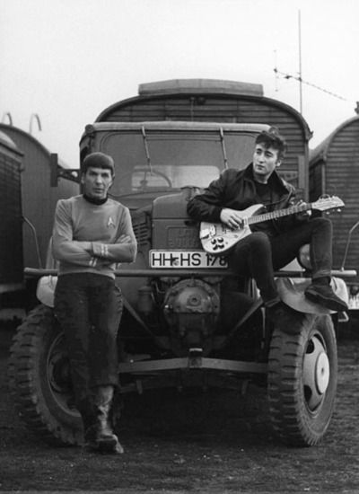 Spock and John Lennon on a tracktor, not beam.