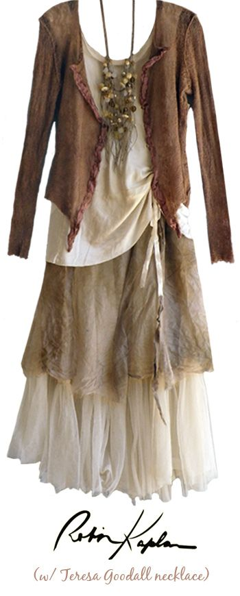 Looking for an outfit for an occasion in the Black Hills in September.  I love this creation from Robin Kaplan and would also consider anything in a very subtle southwestern styling.  Would prefer a longer skirt and top for my full figure.