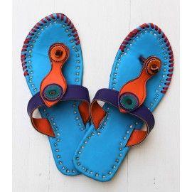 Blue fish strap boho rangoli footwear