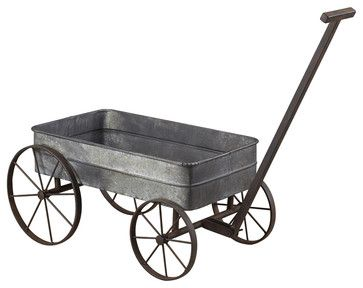 Sterling 51-10016 Metal Cart Planter With Handle transitional accessories and decor