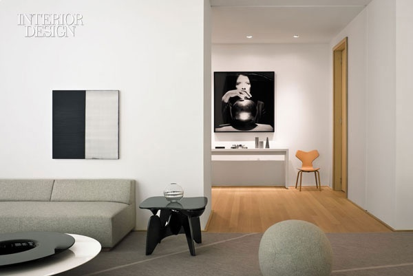 :: INTERIORS :: a sophisticated colour palette, oak, white, gray with accent of black and bold art, Shelton, Mindel creates, New York to market condominiums in Herzon & de Meuron's first skyscraper #interiors