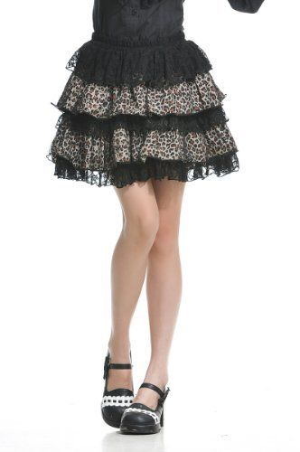 Blooms - Fashion Lolita Gothic Visual Punk Rock Ruffle Leopard Lace Miniskirts Skirts One Size 61247BB Blooms. $32.99