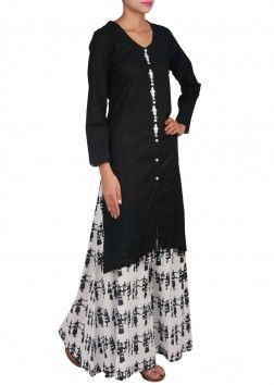 black straight fit suit matched with printed palazzo pants only on Kalki