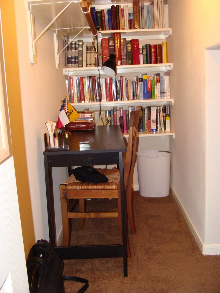 This is the under-stairs closet after I converted it into a study.  There is enough room for me to walk around in.  The bookshelves were installed by the builder, not me.