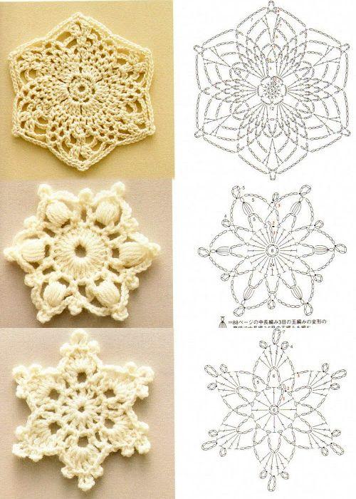 Crochet Snowflakes: diagram.   #crochet #lace
