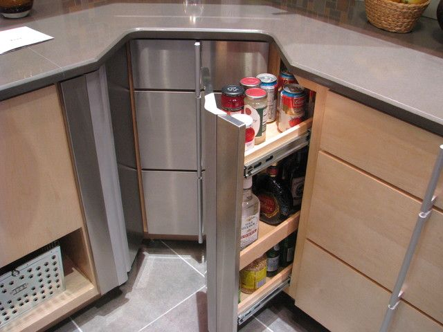 Sleek And Modern Corner Kitchen Cabinet Design