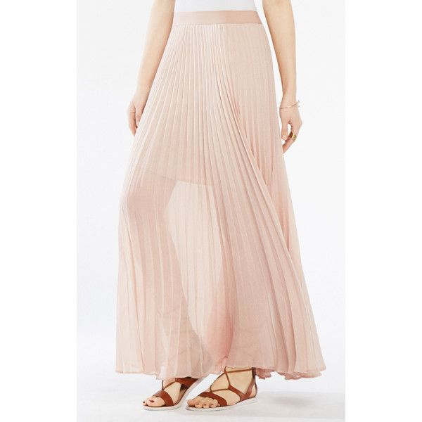BCBGMAXAZRIA Esten Pleated Lace Maxi Skirt ($199) ❤ liked on Polyvore featuring skirts, pink, pink maxi skirt, long pleated skirt, pink pleated skirt, floral skirt and pink skirt