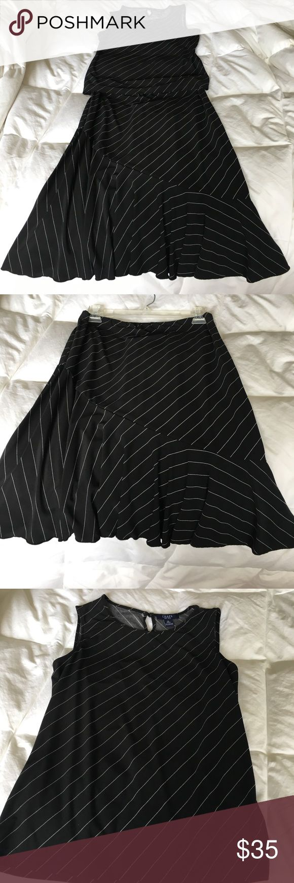 Chaps skirt outfit in black with white strips By Chaps.  Top is a medium size the skirt is a small. Dressy Chaps Skirts