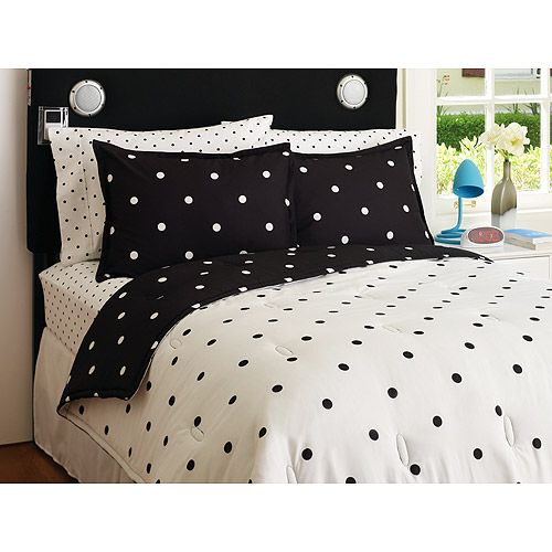 Your Zone  Reversible Comforter and Sham Set, Black & White Polka Dot