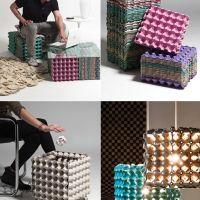 Muebles con cartones de huevos reciclados