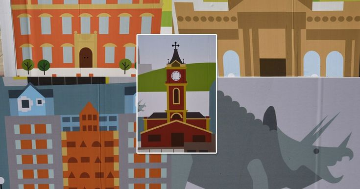 Beautiful Boro, by Middlesbrough artist Sean Sims, is being used on hoardings at Middlesbrough Town Hall