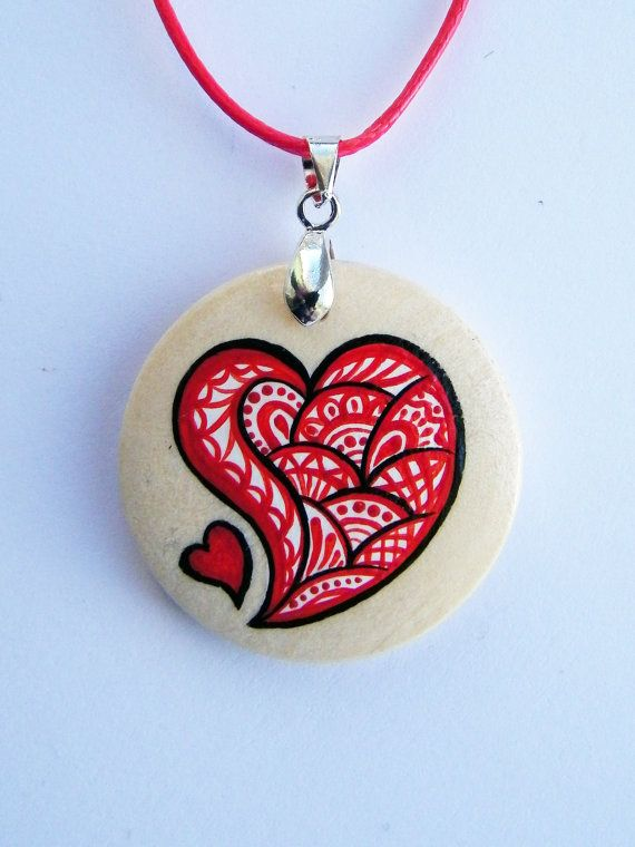 One Happy Heart Pendant, valentine's day gift, wood, unique pendant, charm, personalized gift, cute pendant, red