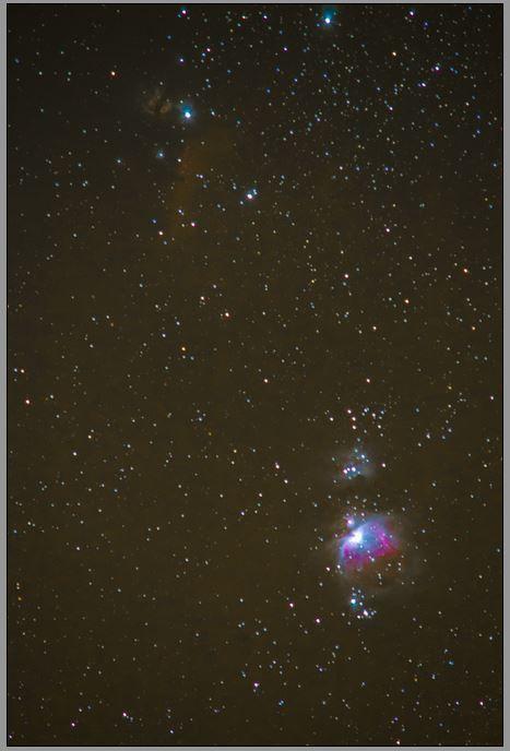 Nébuleuses de la constellation d'Orion. Février 2015. Depuis Lancié.