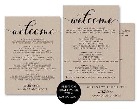 Itinerary Wedding Welcome Bag Wedding Itinerary by AModernSoiree