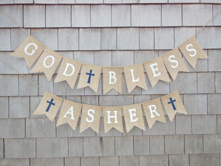 Navy Blue Baptism Decor, First Communion Baptism Banner, Custom Personalized Baptism Banner God Bless Bunting First Communion Burlap Garland by IchabodsImagination on Etsy https://www.etsy.com/transaction/1130138528