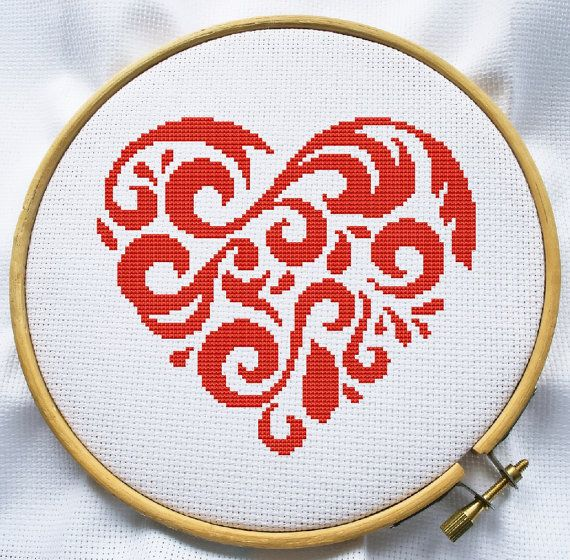Counted cross stitch pattern, Instant Download, Free shipping, Cross-Stitch PDF, Red floral heart, Valentine cross stitch pattern