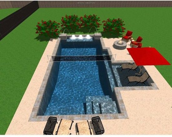 pool design pictures remodel decor and ideas page 80 like the awning - Rectangle Pool With Water Feature