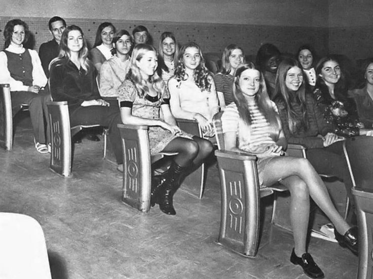 """photo-High School 1963...""""Hemlines got shorter than ever with the invention of the mini-skirt, which burst onto the fashion scene in 1962. Technically, a miniskirt is 8 inches above the knee. High school girls loved it."""""""