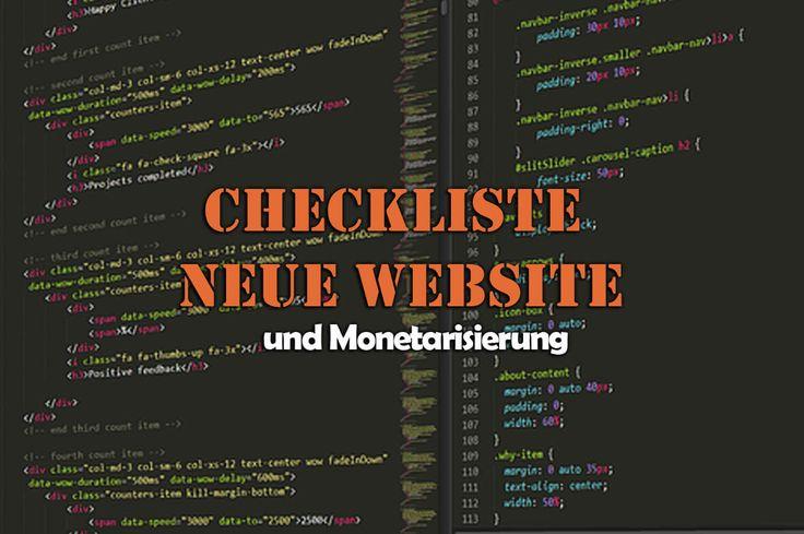 Neue Website erstellen und Monetarisieren – Checkliste – Checklisteo
