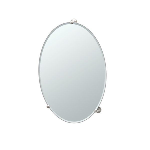 The Gatco Oldenburg Frameless Mirror is a simple, sleek, stylish bathroom accessory. This frameless mirror is oval shaped, and its classic design enhances your washroom with a touch of sophistication. This wall mirror has concealed fastening on the sides for strong stability and rigid support. The Oldenburg Frameless Mirror by Gatco is ideal for a traditional setting, but can be placed in a modern home too. The mirror can be placed in vertical or portrait mode to suit your preference. The…