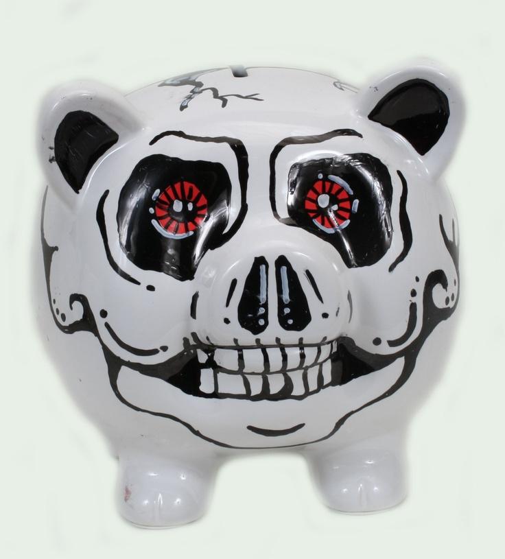 skull piggy bank. Your favourite piggy banks: http://www.helpmetosave.com/2012/02/piggy-bank/