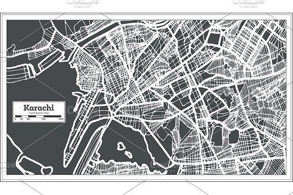 Karachi #Pakistan #City #Map in #Retro by Booblgum on