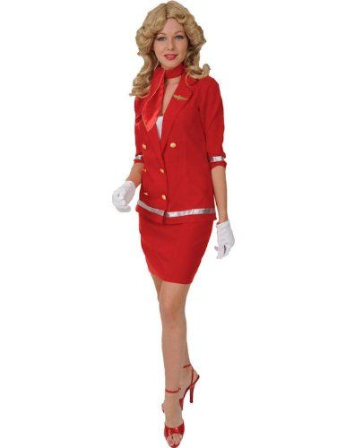Déguisement Femme Costume Hôtesse de l'Air Rouge Small | Your #1 Source for Toys and Games