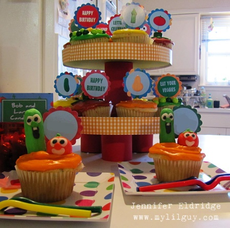 Veggie Tales Birthday ideas: Cup Cakes, Cupcakes Oh, Cupcake Stands, Cake Ideas, Veggie Tales Birthday, 1St Birthday, 09 Cup, 2Nd Birthday, Birthday Ideas