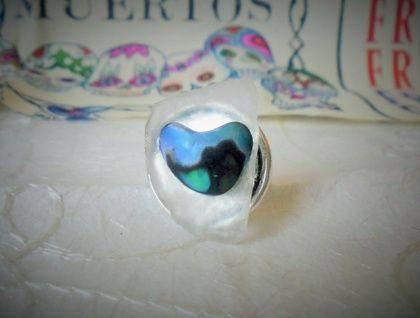 Sea glass and Paua shell ring