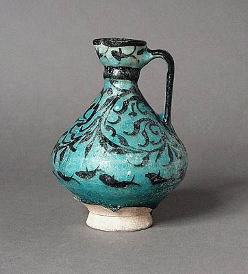 Jug Iran, Kashan Jug, early 13th century Ceramic; Vessel, Fritware, underglaze painted, 6 x 4 1/2 in. (15.24 x 11.43 cm) The Nasli M. Heeramaneck Collection, gift of Joan Palevsky (M.73.5.258) Art of the Middle East: Islamic Department.